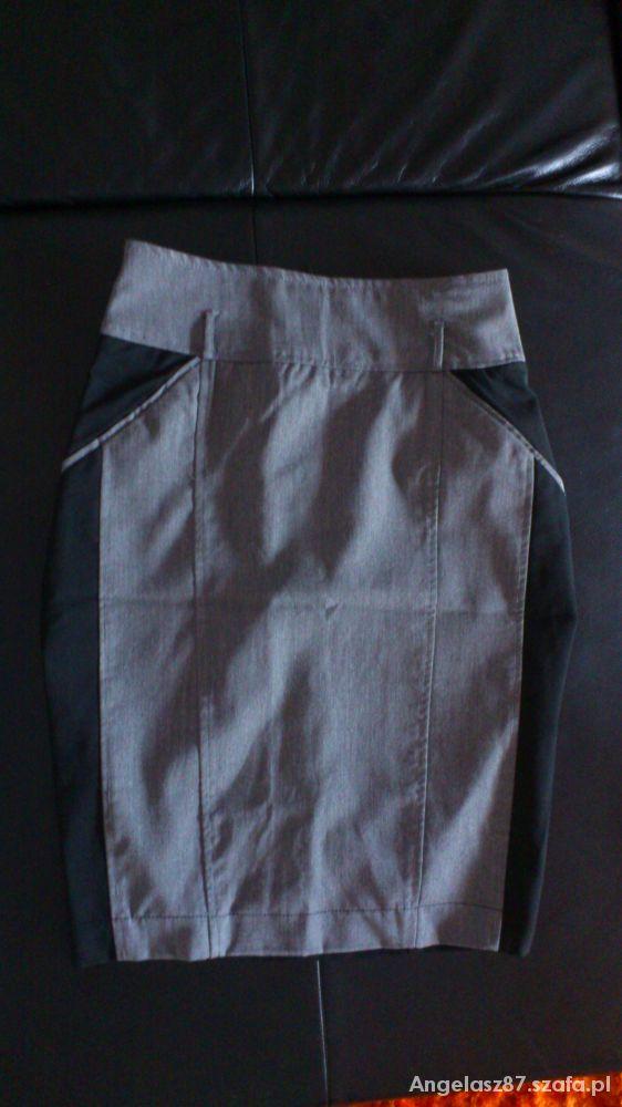 Spódnice Stradivarius szaro czarna 34 XS
