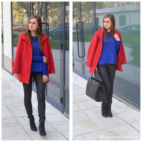 Mój styl RED COAT AND NAVY BLUE BLOUSE