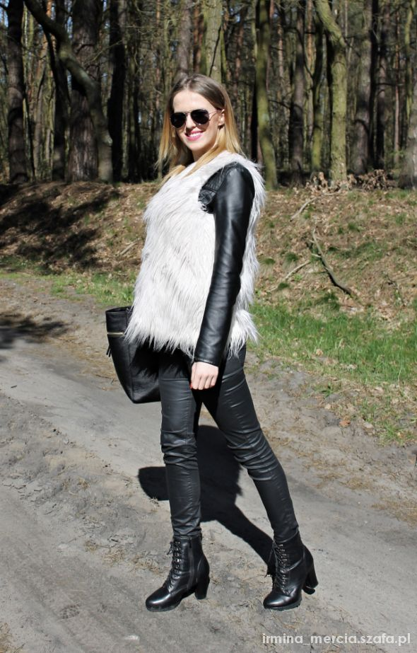 Mój styl Fur vest & waxed pants