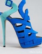 Zanotti kobaltowe miętowe sandały sandałki szpilka