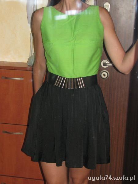 Imprezowe zielona fluo z czernia