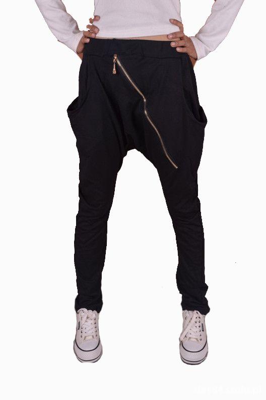spodnie baggy czarne materiałowe L
