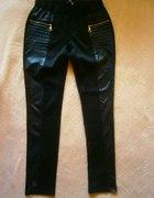Czarne legginsy z elementami skóry