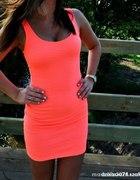 Bershka Honey sukienka morelowa neonowa neon...