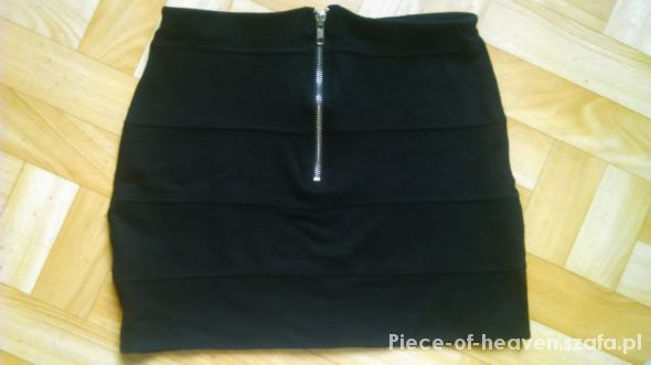 Spódnice czarna bandażowa mini bandage uni gold zip suwak
