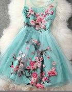 Haftowana sukienka floral kwiaty...