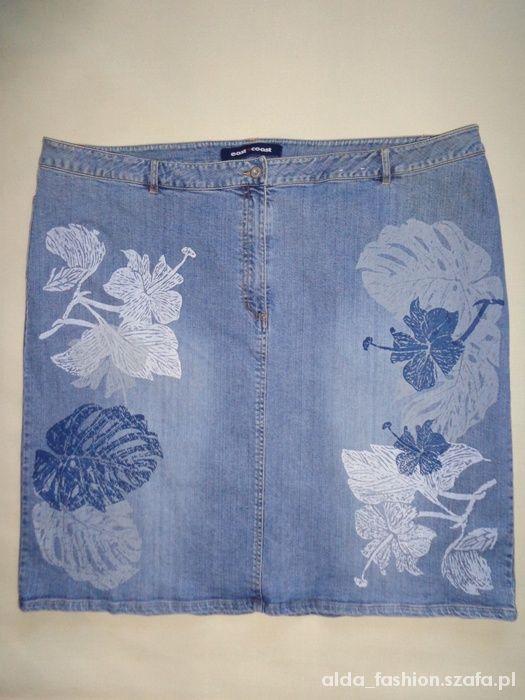 Spódnice EAST COAST jedyna dżinsowa ołówkowa kwiaty 56 DENI