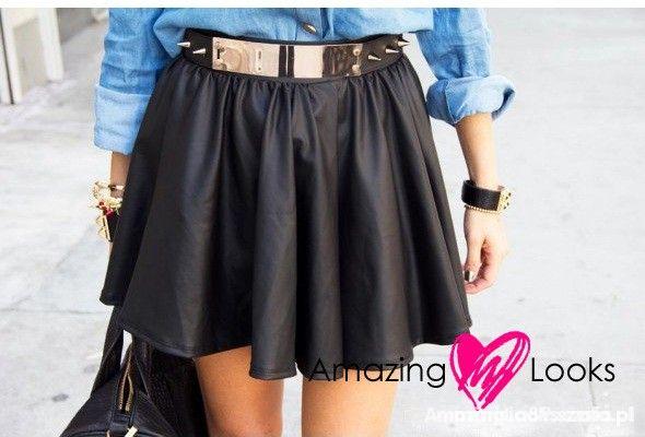 Spódnice skórzana czarna rozkloszowana spódniczka