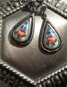 porcelana w srebrze stare kolczyki w kwiaty