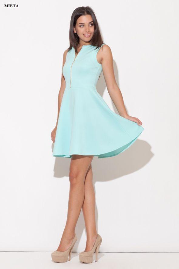 Suknie i sukienki PASTELOWA ROZKLOSZOWANA Z ZŁOTYM ZAMKIEM