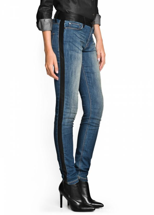 Ubrania spodnie jeansy skóra skórzane wstawki