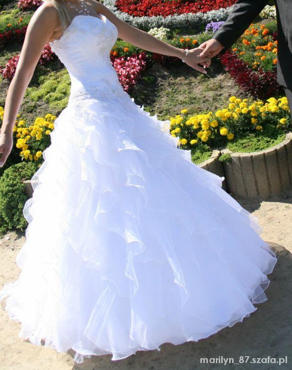 09c174c54d piękna suknia ślubna asymetryczne falbanki w Suknie ślubne - Szafa.pl