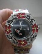 zegarek w kwiatki z regulowaną bransoletą