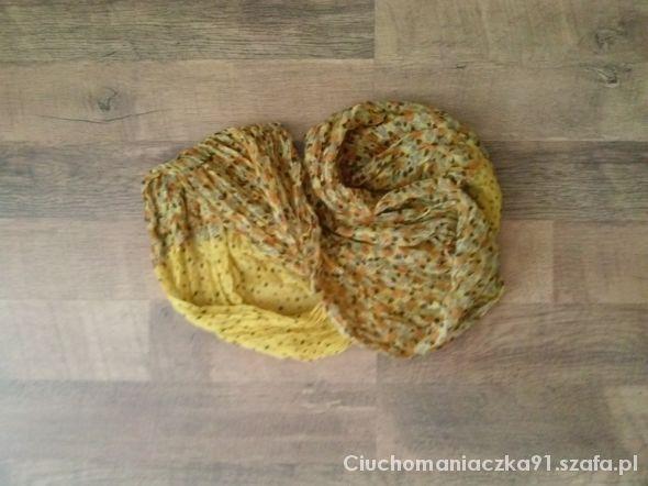 Chusty i apaszki Piękna cytrynowa apaszka w drobniutkie groszki