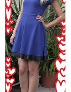 szafirowa sukienka z eko skorka...