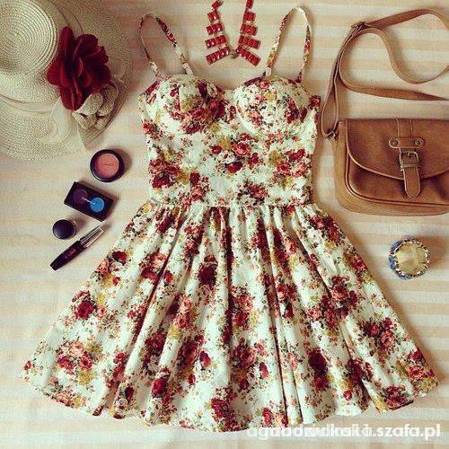 sukienka rozkloszowana w kwiaty