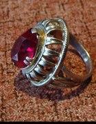 srebrny pierścień kopułka z różem