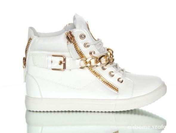 Białe Sneakersy Łańcuch Złote 37