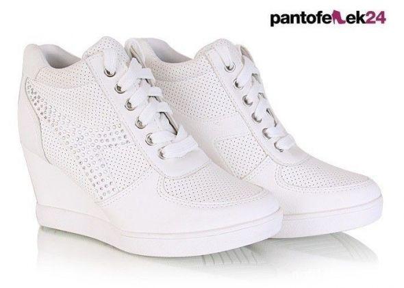 b38ffc611 Sneakersy botki koturny trampki białe w Obuwie - Szafa.pl