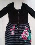 Bloggerska tulipanowa sukienka kwiaty ZARA