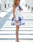 rozlkoszowana żakardowa sukienka kwiaty foral 36S