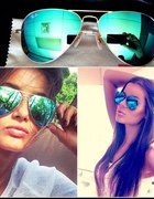 okulary aviator mirror zielono niebieskie