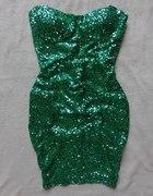 TFNC Asos cekinowa zielona sukienka S