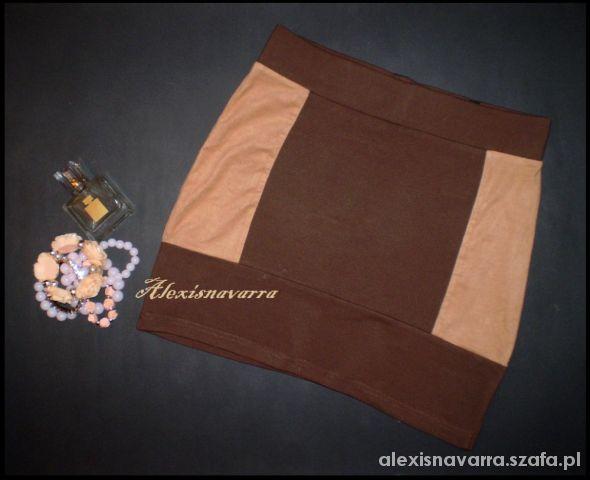 Spódnice bandazowa spódniczka wstawki beż