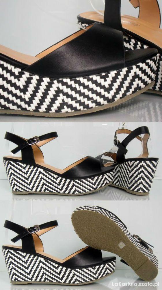 Koturny sandały biało czarne