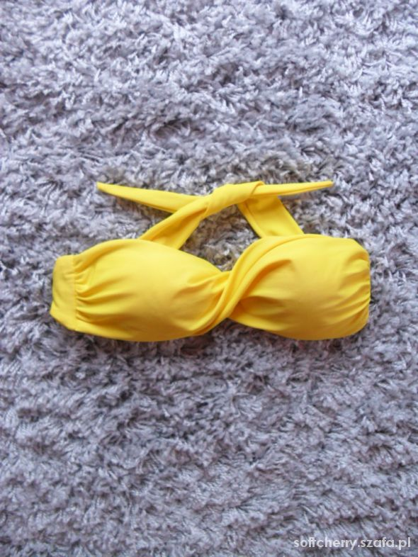 Góra od bikini bandeau żółta kanarkowa B