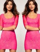 Koronkowa Sukienka Różowa Mega Sexi Sukienki NOWA