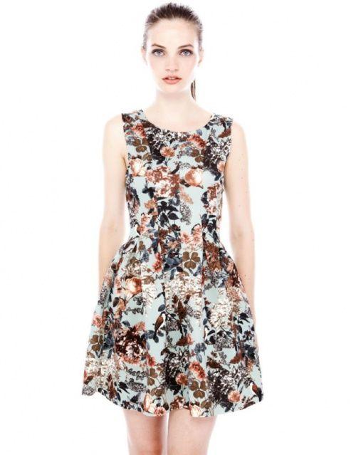 Sukienka Pull&Bear niebieska w kwiaty ptaki