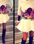 Komplet w kwiaty bluza spódnica spodenki ZARA H&M...