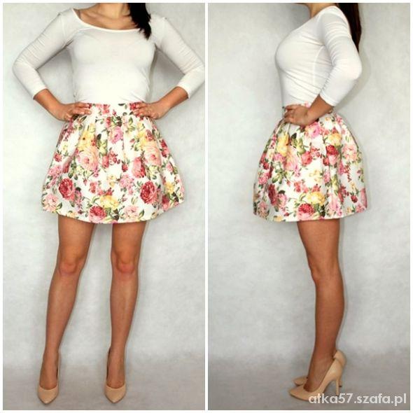 Spódnice spódnica floral kwiatki bombka rozkloszowana 36S
