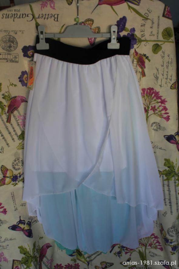 Spódnice biała i miętowa asymetryczne