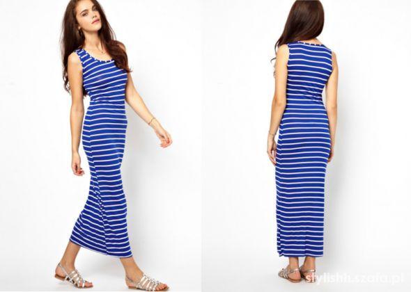 afc8bed95b BERSHKA plażowa sukienka MAXI pasy MARYNARSKA L w Suknie i sukienki ...
