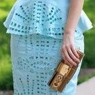Miętowy komplet baskinka ażurkowy H&M conscious