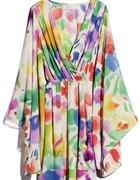 Kolorowa zwiewna sukienka H&M garden collection L