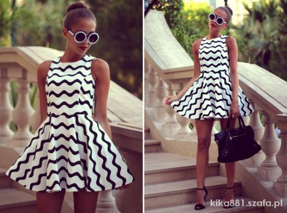 biało czarna sukienka