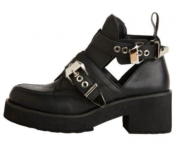 Obuwie Czarne buty grunge na platformir z klamrami