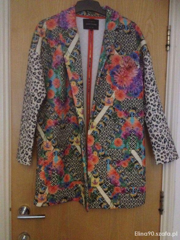 Ubrania Płaszcz River Island w kwiaty kolorowe wzory