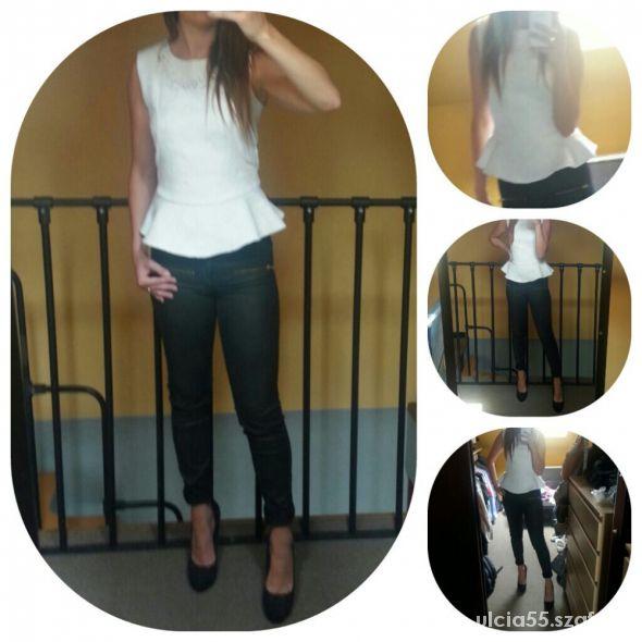 Eleganckie Biała bluzka z baskinką