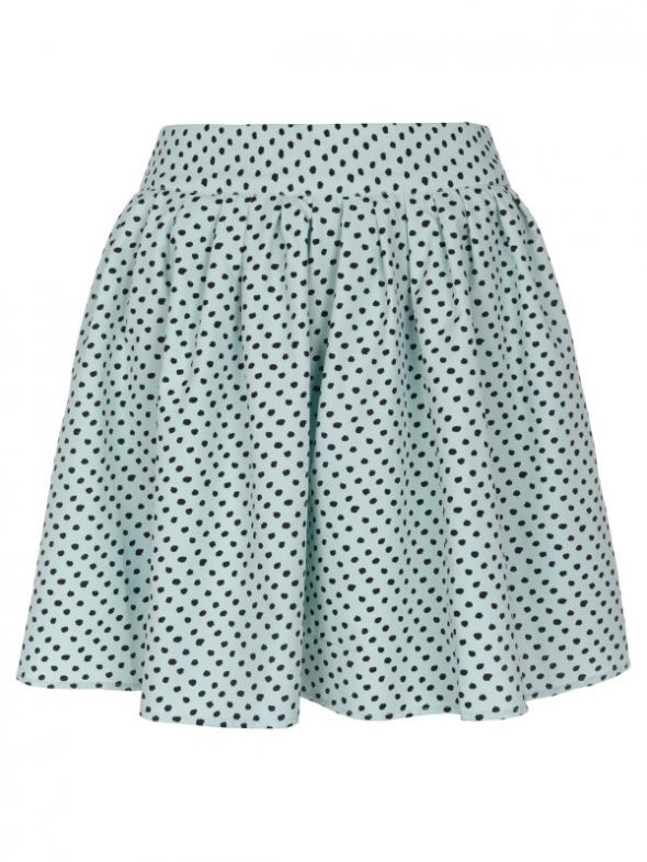 Spódnice Krótka rozłożysta spódnica błękitna nakrapiana