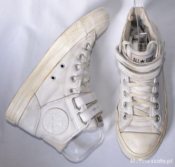 Converse białe skórzane skóra za kostke 39 w Trampki Szafa.pl
