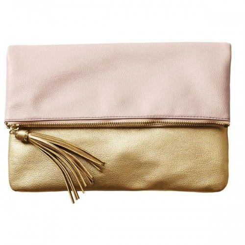 Dodatki kopertówka torebka h&m pudrowo złota