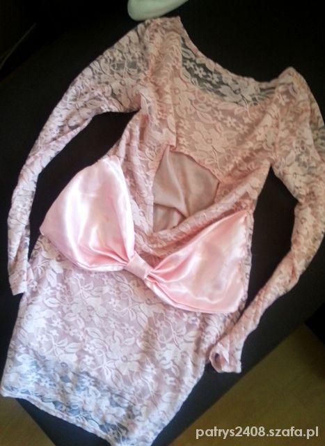 Sukienka pudrowy róż koronka kokarda