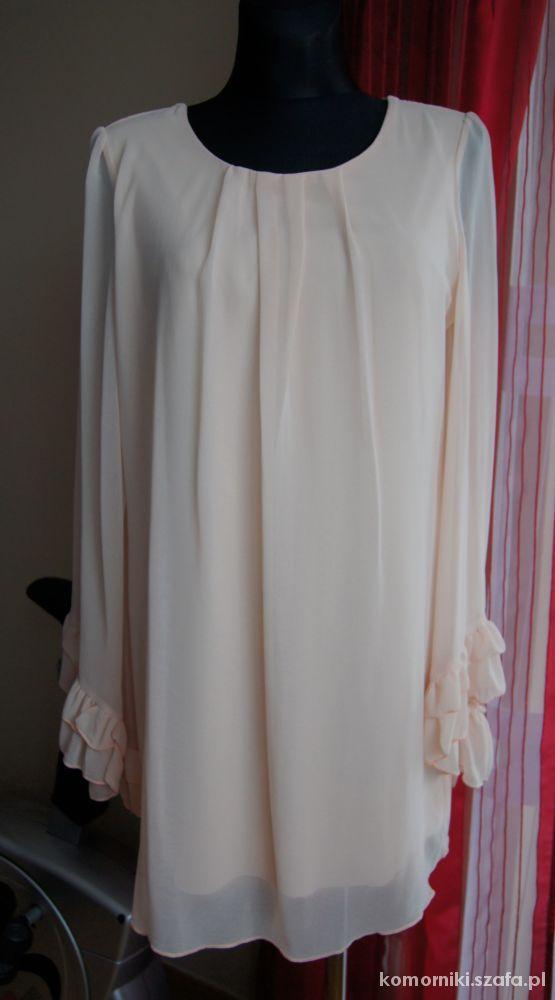Brzoskwiniowa tiulowa sukienka w roz 44