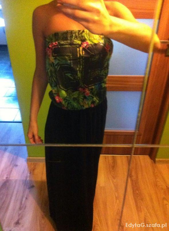 Długa suknia Maxi na lato kwiaty Terranowa S...