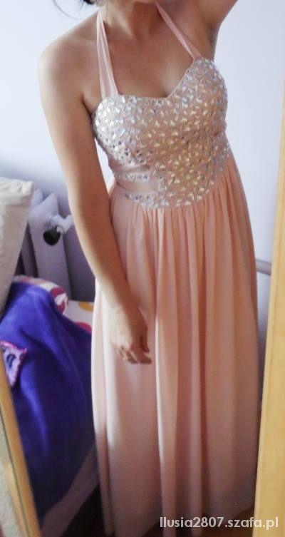 Eleganckie pudrowa suknia