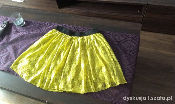 Spódnice urocza limonkowa koronkowa 36